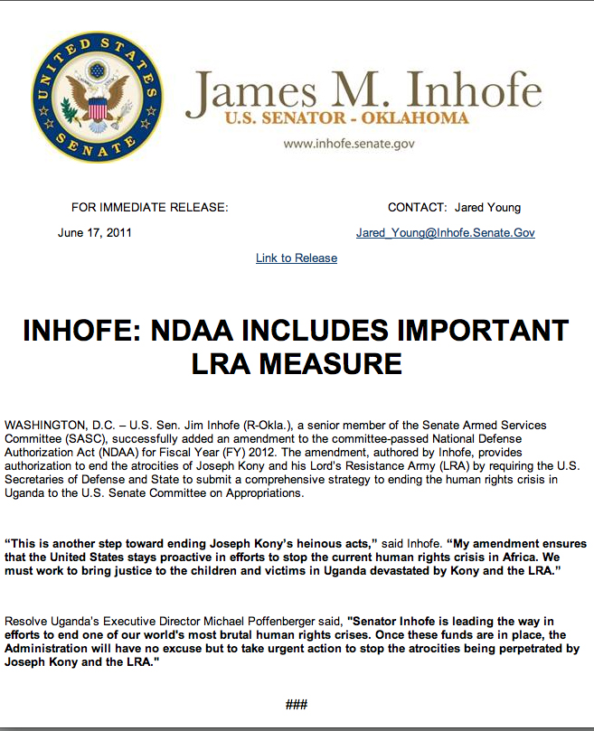 James Inhofe - LRA Bill of 2010