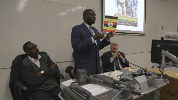 FUF Launch in London: General David Sejusa, Dr. Amii Omara-Otunnu and Professor Mouvani